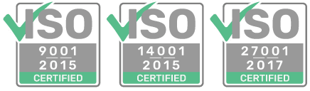 ISO 9001, 14001, 27001 certified
